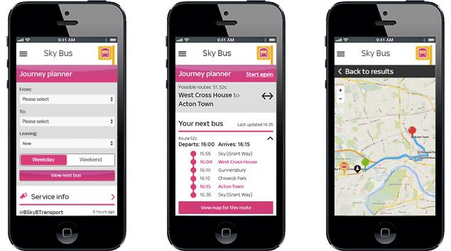 Sky Bus App – Design